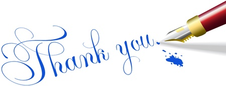 Rode vulpen schrijft dankt u nota woorden in blauwe inkt Vector Illustratie