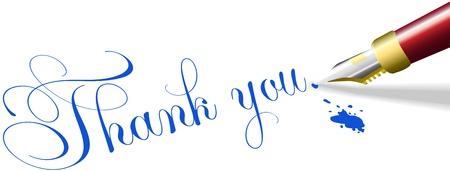 thankful: Rojo l�piz escribe fuente Nota de agradecimiento de las palabras en tinta azul