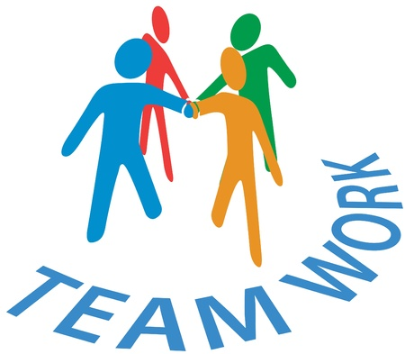 quartet: Team of people join hands as symbol of  teamwork collaboration or cooperation