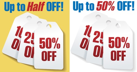 Two sets of three discount price tags 10 25 and 50 percent off sale Vector