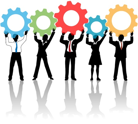 Team of business tech people hold up technology gear collaboration solution  Stock Vector - 12498094