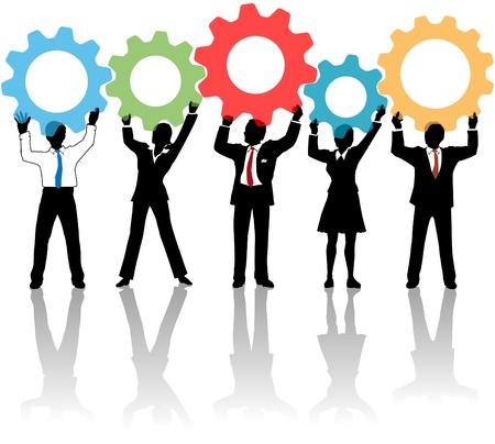 Team van business tech mensen houden technologie versnelling collaboration-oplossing Stock Illustratie