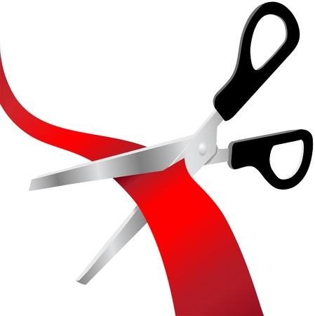 taglio del nastro: Paio di forbici tagliare un nastro grande apertura o la burocrazia Vettoriali