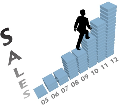 yearly: Business person climbs up a marketing monthly or yearly sales chart Illustration