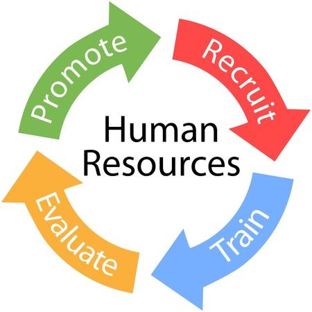 �resource: Las flechas de la empresa de recursos humanos son el Tren Reclutar Evaluar Promover ciclo de Vectores