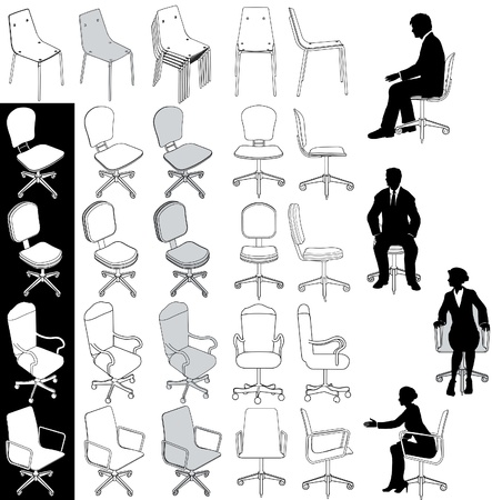 Colección de 5 tipos de sillas para oficina de negocios de dibujos de arquitectura técnica y de otra