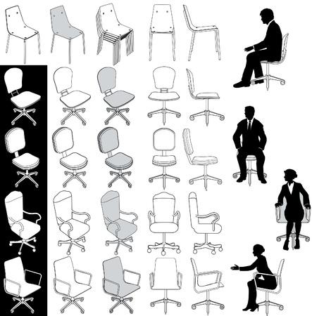 muebles de oficina: Colección de 5 tipos de sillas para oficina de negocios de dibujos de arquitectura técnica y de otra Vectores