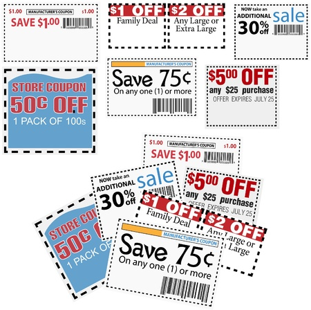 thrift: Clip this group of six print coupons as elements store sale ad designs