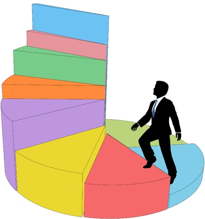 upward graph: Business person climbs up 3D pie chart data as stairs