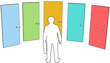 Business person chooses among door five colors choices to enter future opportunity Vettoriali