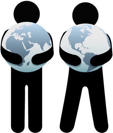 hands holding globe: Earth hugger people holding world safe in their globalist arms