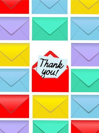 Rows of colorful envelopes with one Thank You note open Vector