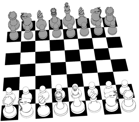 Complete black and white 3D Chess set game pieces and checker board as line drawing Vector