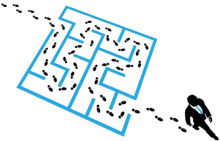 footsteps: Business man steps footprints find a path through a maze puzzle to a solution