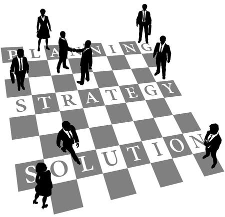 Uomini d'affari come scacchi con personaggi viventi o parti di dama a bordo di Pianificazione Strategica e la soluzione Vettoriali