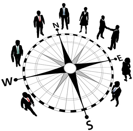 Business people standing on compass pointing in directions of strategy Çizim