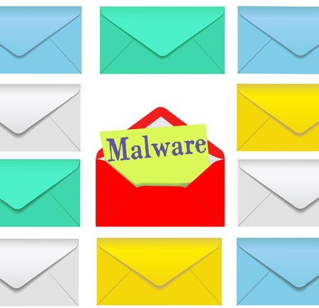 insecure: Open email envelope attachment symbol with malware inside