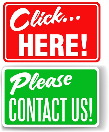 click here: Set of store-front-style signs saying Please Contact Us and Click Here for websites