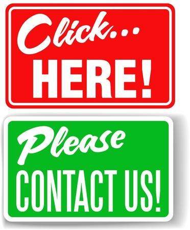 klik: Set van winkel-front-stijl bordjes Neem contact met ons en klik hier voor websites
