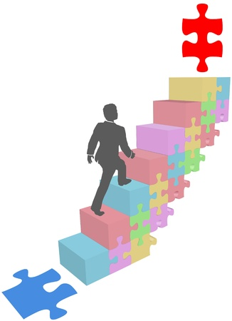 puzzle piece: Persona de negocios que sube escalones para llegar a una soluci�n pieza de rompecabezas objetivo
