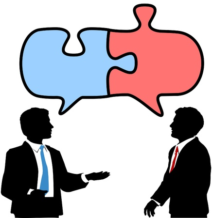 two companies: Two business people talk to find solution in puzzle shape speech bubbles