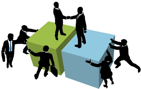Business team help facilitate company deal partnership merger or collaboration