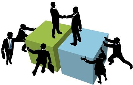 Equipo de negocios ayudará a facilitar mucho la compañía de fusión de asociación o de colaboración