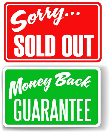 Two retail store window style signs Money Back Guarantee Sorry Sold Out