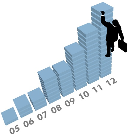 climbing ladder: Business person climbs up company financial data bar chart