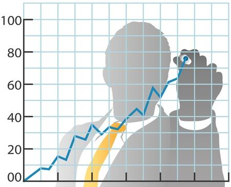Business person Zeichnung Absatzmarkt Aktienchart von hinten mit Marker Standard-Bild - 13628290