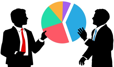 Two business people work together to connect pieces of a sales or market share pie chart