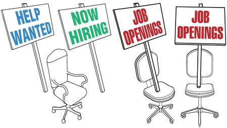 classified ads: Job hiring sign empty office chair icons for human resources web pages and newspaper classified ads