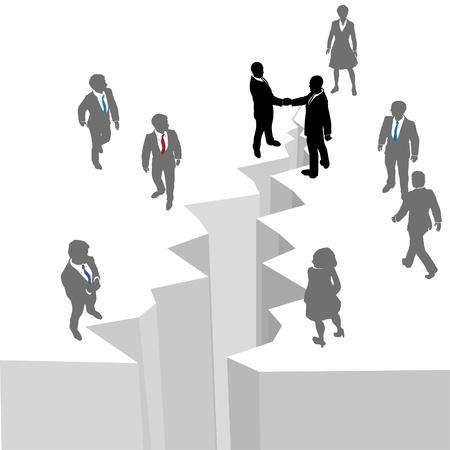 baratro: Due gruppi di lavoro raggiungere attraverso divario da colmare affare riunire o unire Vettoriali