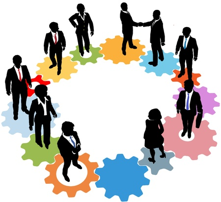 Gente de negocios equipo de siluetas de pie en un círculo de TI engranajes