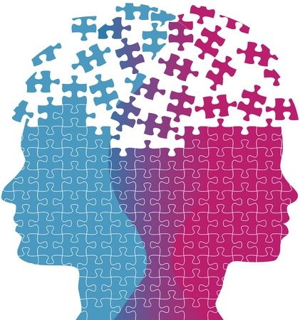 Heads of a woman and man symbol of couple love thought puzzle Vector