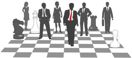 Moving zakenman leidt team als stukken winnen op schaakbord Vector Illustratie