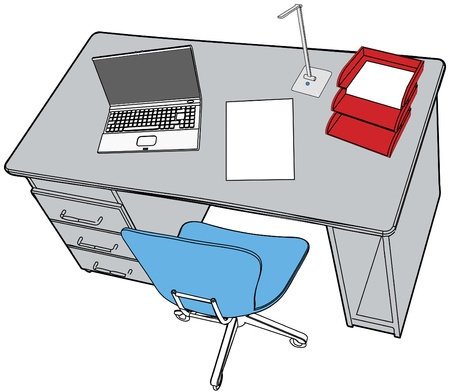 Line drawing of neat desktop scene with blank copyspace paper report  laptop office chair Illusztráció
