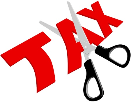 Pair of scissors cuts unfair too high taxes in half