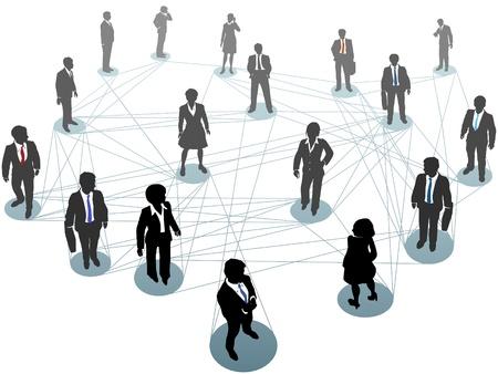 ビジネス人々 のグループからの上のネットワーク ノードのシーンの上に立ってを接続します。  イラスト・ベクター素材