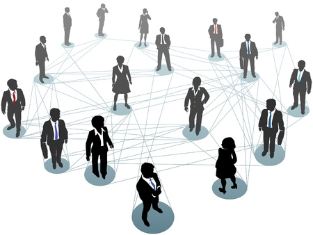 people connected: Group of business people connect standing on network nodes scene from above