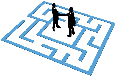 Two business people find a solution to problems and make an agreement in a maze Stock Vector - 14232412