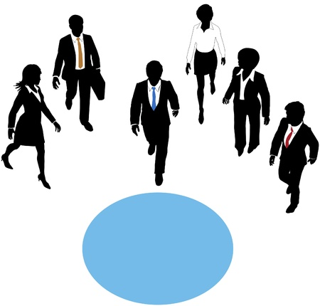 Group of business people walk paths toward a connection copyspace circle