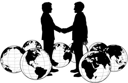 Business people handshake on global deal in circle of world globes  Vector
