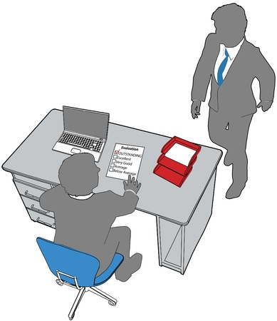 2 objects: Line drawing of neat desktop scene with blank copyspace paper report  laptop office chair Illustration