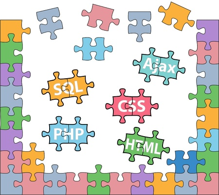 html: HTML PHP CSS SQL jigsaw puzzle pieces in internet web development solutions