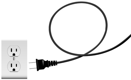 Electric power cord loop forms copyspace plug into outlet