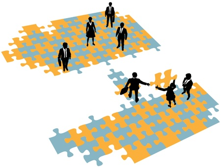 Group of business people build a bridge solution to connect teams Vector
