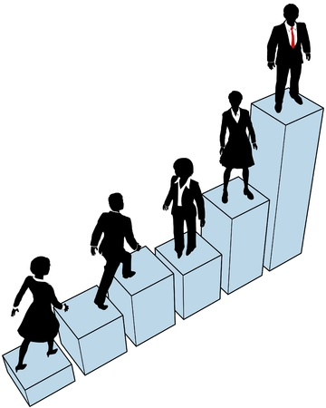 company growth: Business people climb a company growth bar chart to help build market share Illustration