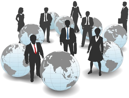 world group: Business people stand in world group as global workforce team