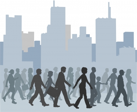 Crowd of city people walk together toward something against a buildings skyline  Vector